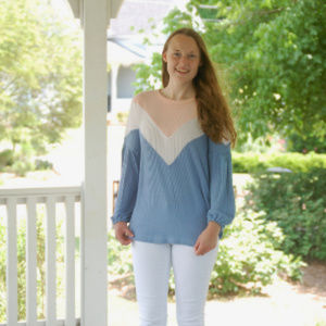 Pink White and Blue Top Hailey & Co